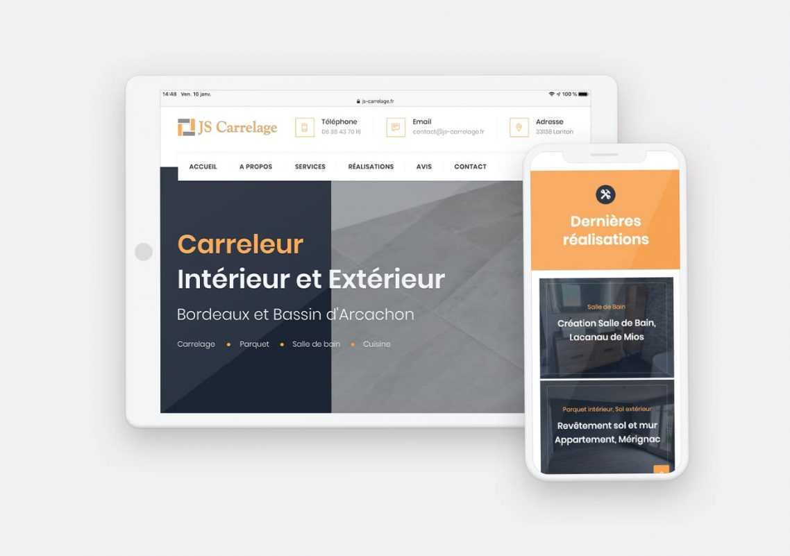 Création Site internet Js Carrelage par Calyweb