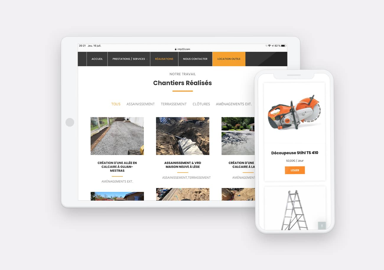 Création site internet MTP33 par Calyweb