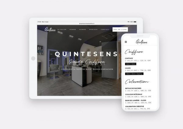 Creation site internet Quintesens Haute Coiffure par Calyweb