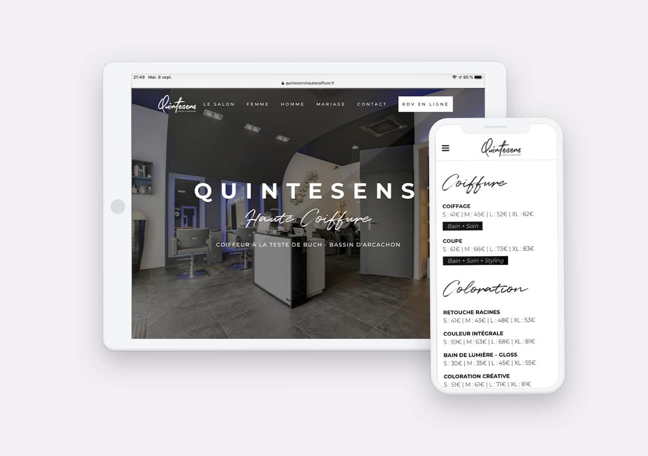 Creation site internet Quintesens Haute Coiffure par Calyweb
