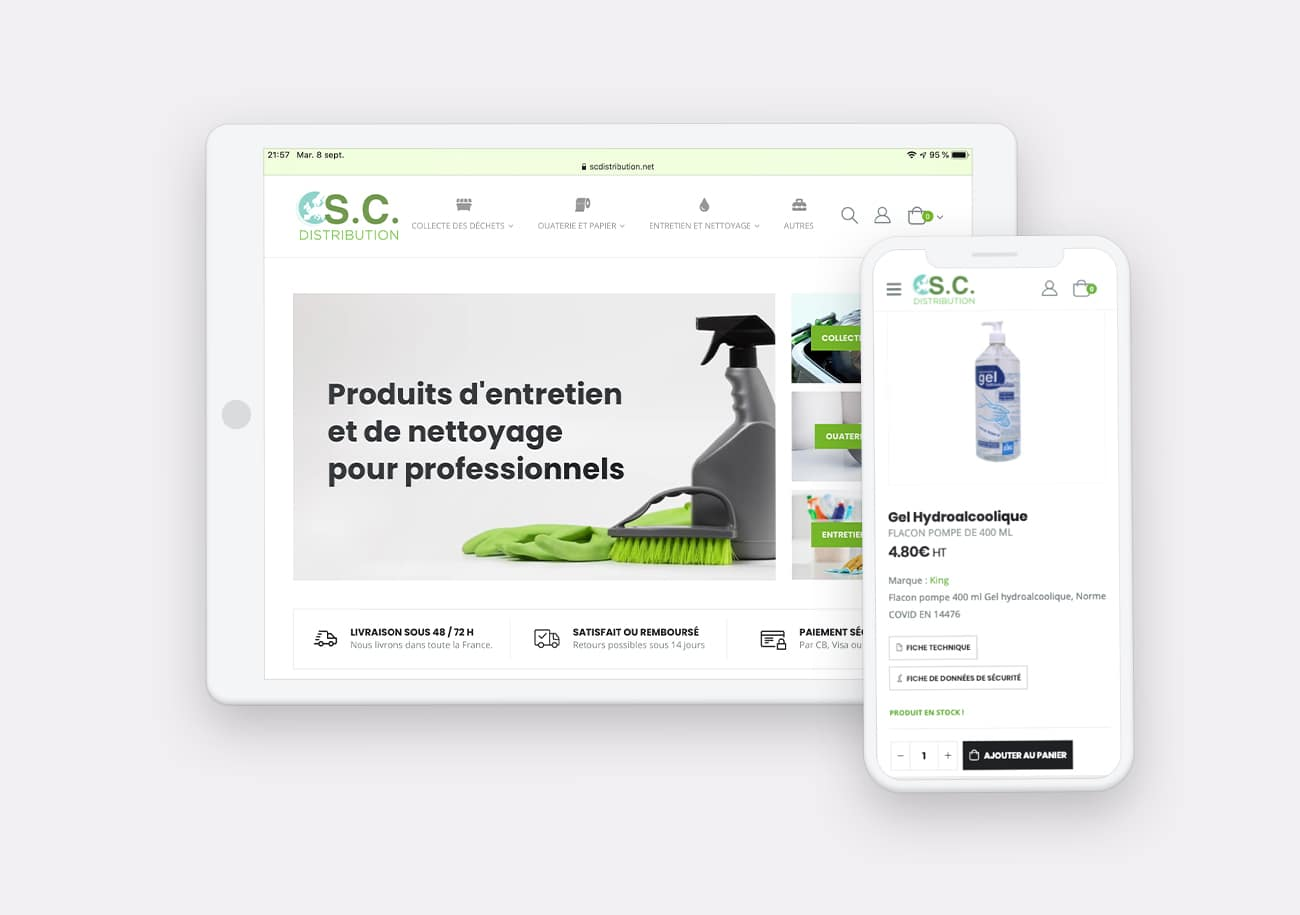 Creation site internet SC Distribution par Calyweb