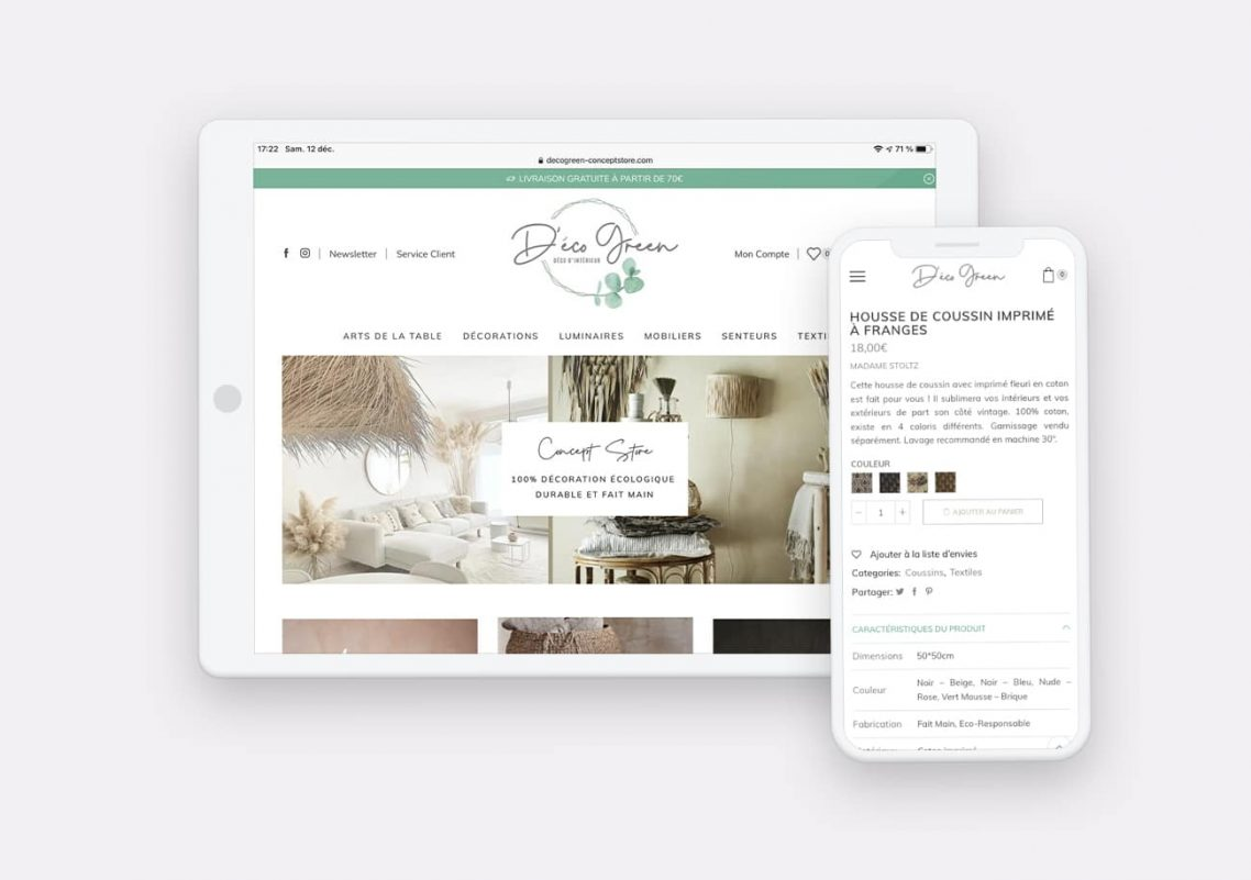 Creation Site Web DecoGreen par Calyweb