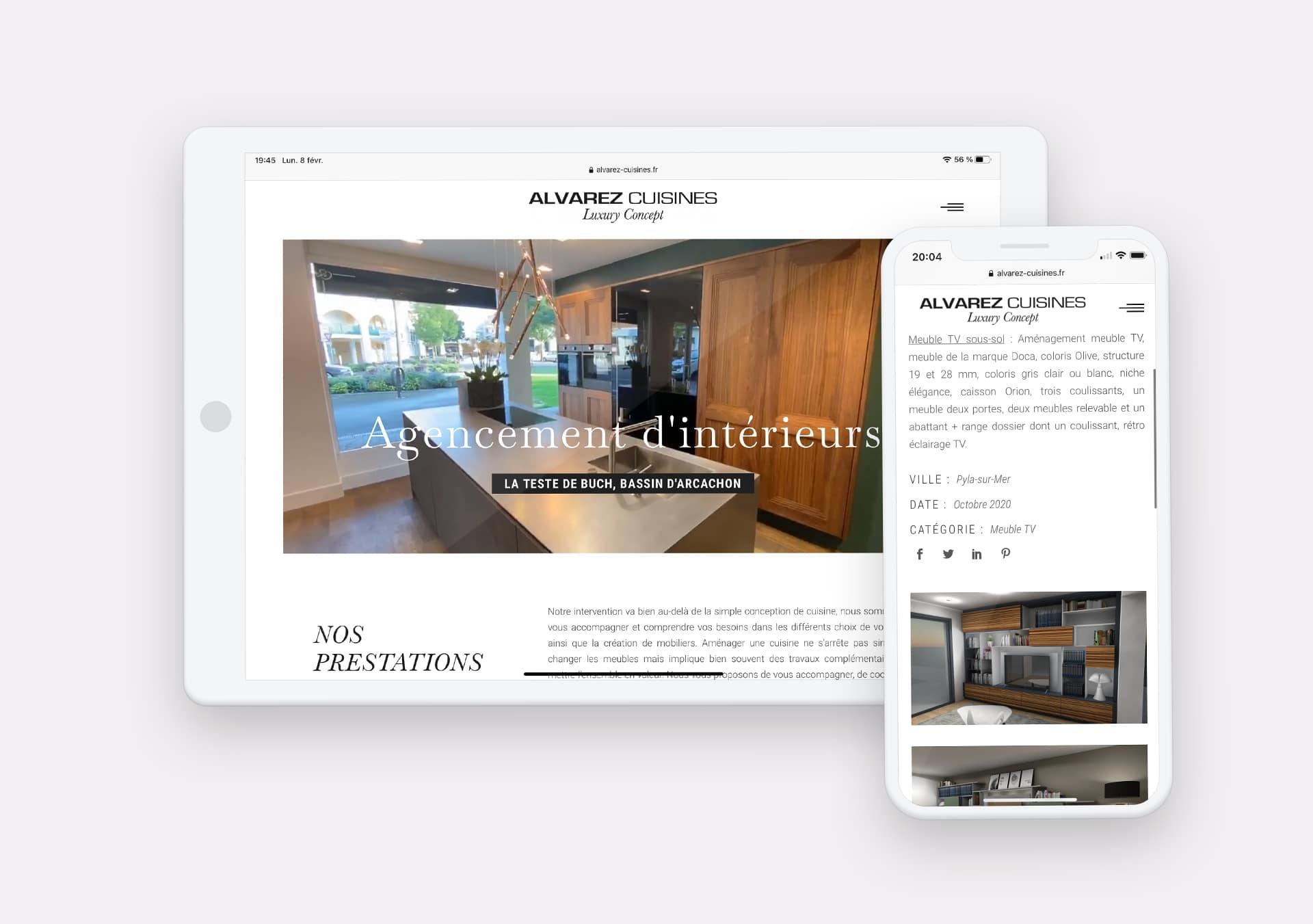 Creation site web Alvarez Cuisines par Calyweb