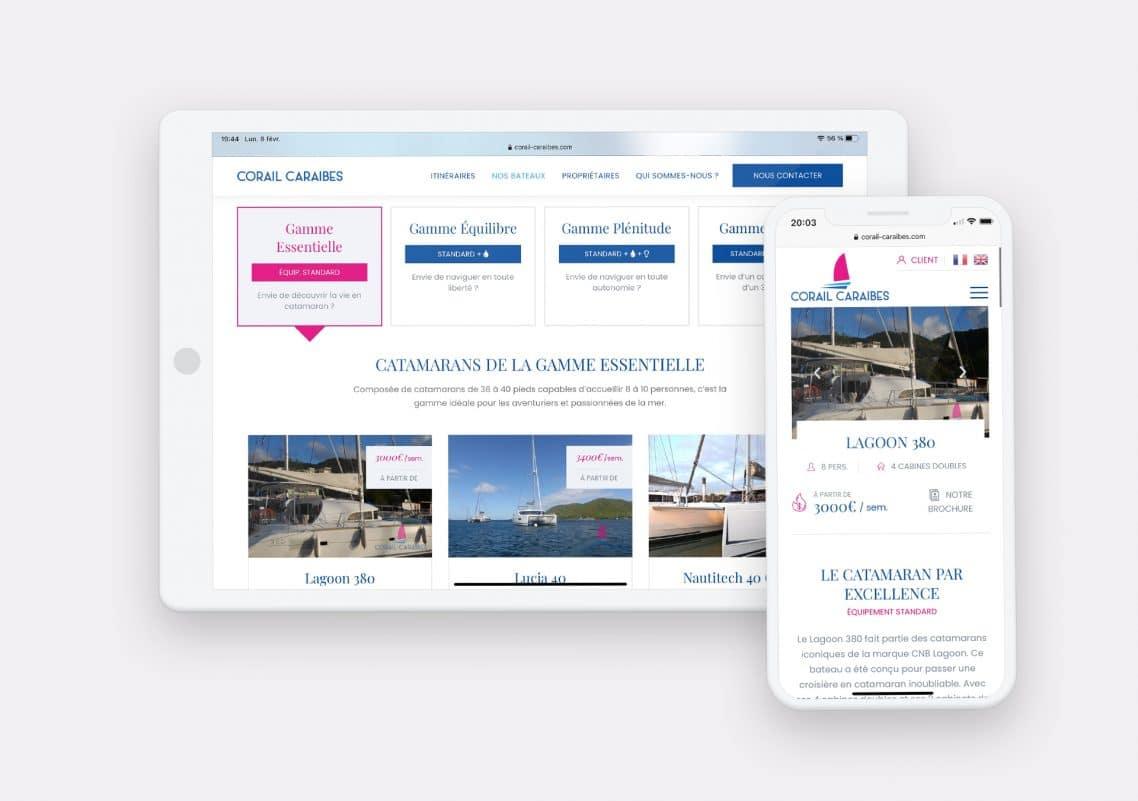 Creation site web de corail caraibes par calyweb